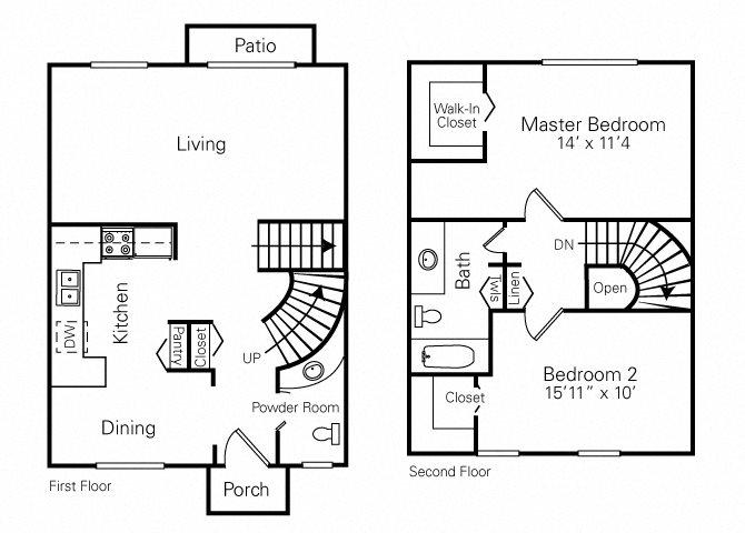 2 Bedroom (Reverse) Floor Plan 3