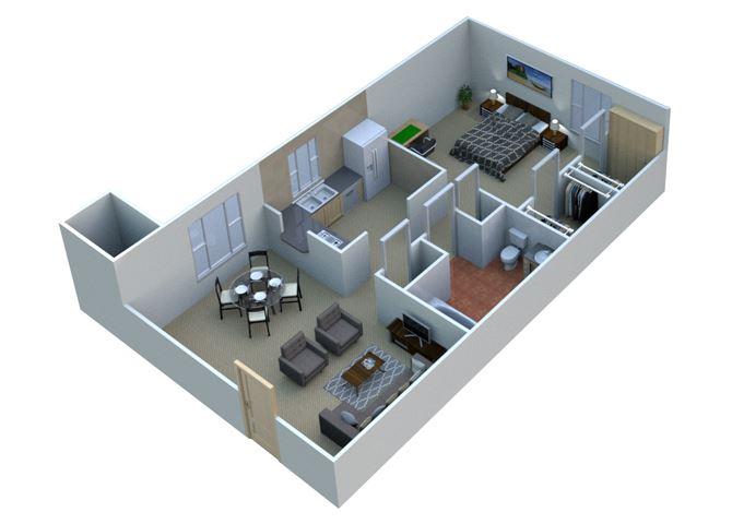 1 BEDROOM 1A10 - 1 Bedroom 1 Bathroom Floor Plan at Sterling Lake Apartments,Sterling Heights MI