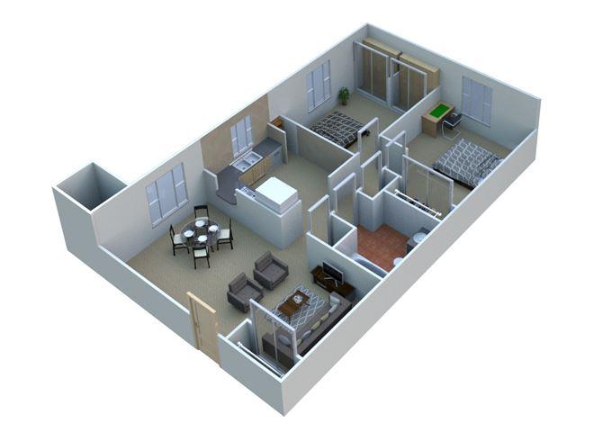 2 BEDROOM 2A10 - 2 Bedroom 1 Bathroom Floor Plan at Sterling Lake Apartments,13500 Northside Drive, Sterling Heights