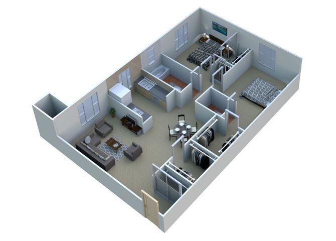 2 BEDROOM 2A11 - 2 Bedroom 1.5 Bathroom Floor Plan at Sterling Lake Apartments, 13500 Northside Drive, Sterling Heights MI 48312