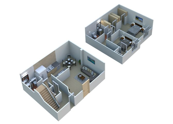 TOWNHOME 2 T11 -  2 Bedroom 1.5 Bathroom Floor Plan at Sterling Lake Apartments,48312, MI