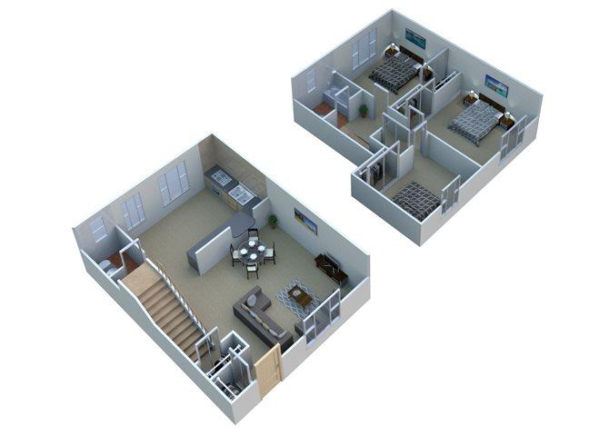Three bedroom townhome Floor Plan 3