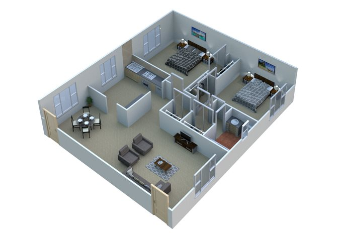 Two bedroom apartment Floor Plan 1