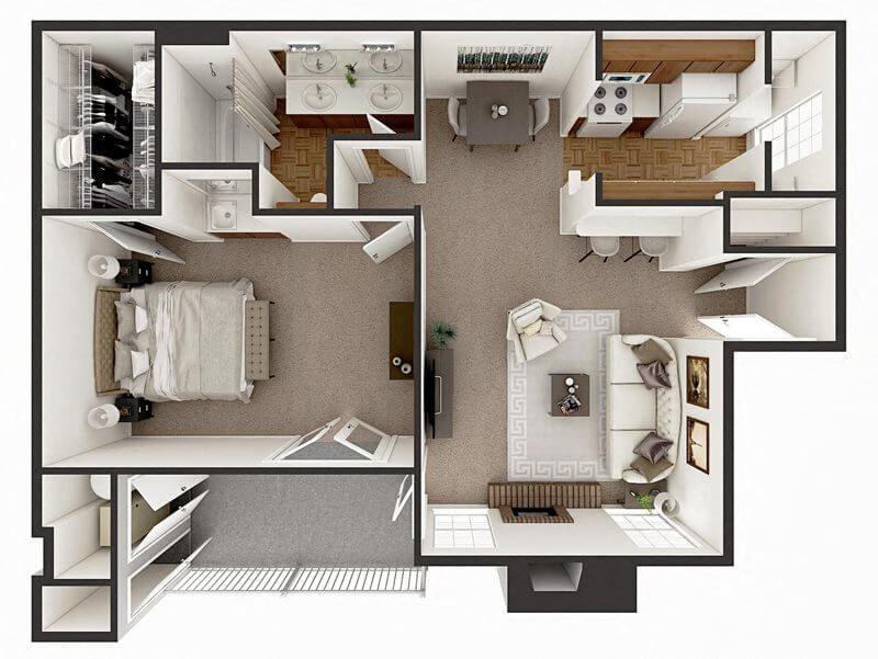 one bedroom apt floor plan Amarillo TX