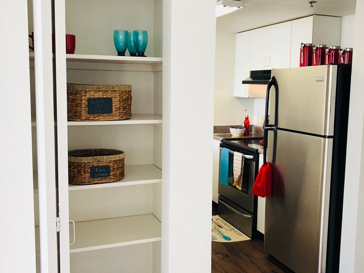 Pantry and Kitchen at LeClaire Apartments in Moline, IL