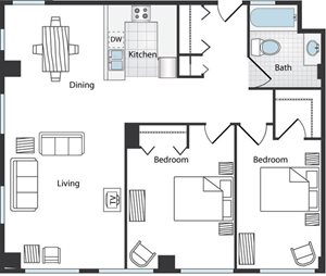 2 bedroom Floor Plan at LeClaire Apartments in Moline, IL