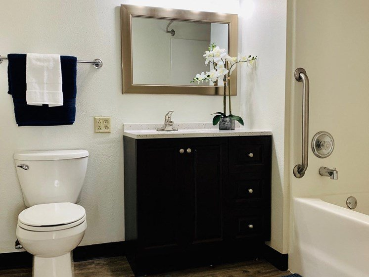 Upgraded Bathroom at LeClaire Apartments in Moline, IL