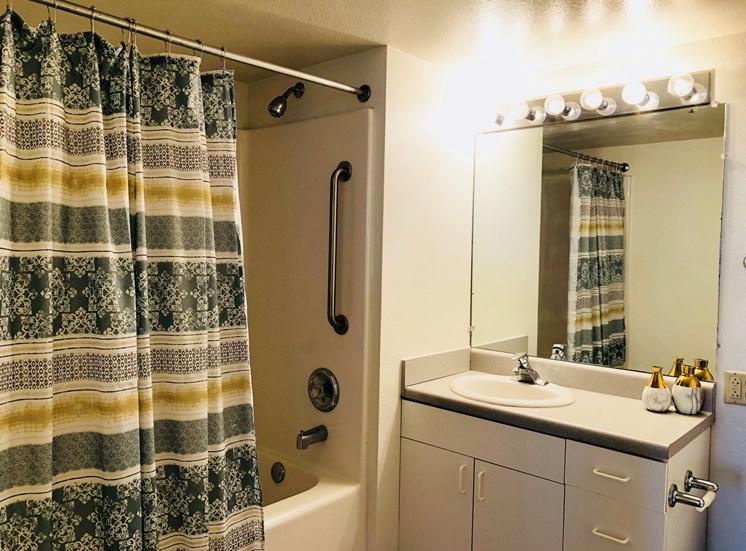 Bath at LeClaire Apartments in Moline, IL