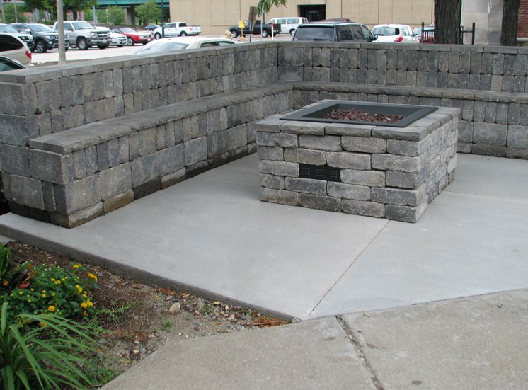 Fire pit at LeClaire Apartments in Moline, IL