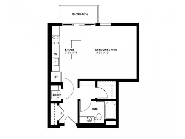 Believe Floor Plan (0 beds, 1 baths, 532-550 sq.ft, rent $1,335-$1,395/month)