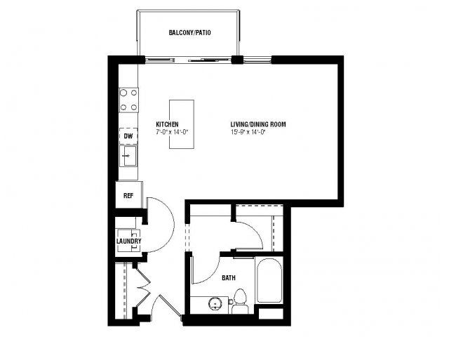 Chic Floor Plan (0 beds, 1 baths, 544 sq.ft, rent $1,260/month)