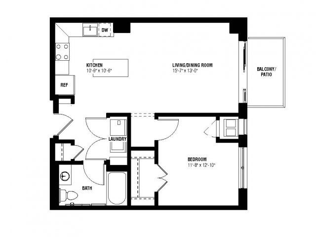 Echo Floor Plan (1 beds, 1 baths, 718 sq.ft, rent $1,615/month)
