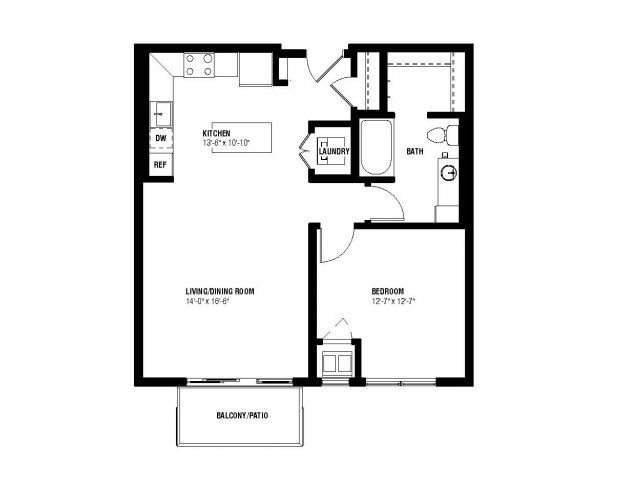 Flip Floor Plan (1 beds, 1 baths, 739 sq.ft, rent $1,555-$1,665/month)