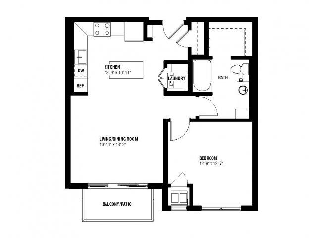 Gleam Floor Plan (1 beds, 1 baths, 660-691 sq.ft, rent $1,565-$1,625/month)