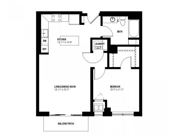 Harmony Floor Plan (1 beds, 1 baths, 703 sq.ft, rent $1,645-$1,675/month)