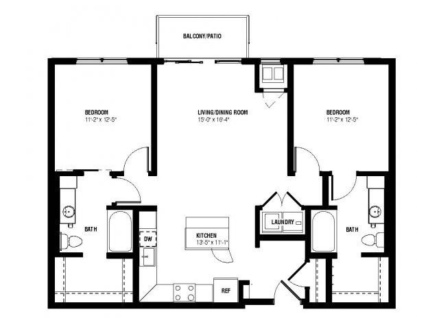 Lucent Floor Plan (2 beds, 2 baths, 1005-1044 sq.ft, rent $2,070-$2,110/month)