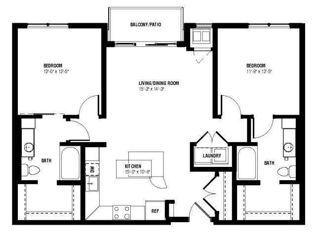 Marquee Floor Plan (2 beds, 2 baths, 1004-1058 sq.ft, rent $2,040-$2,110/month)