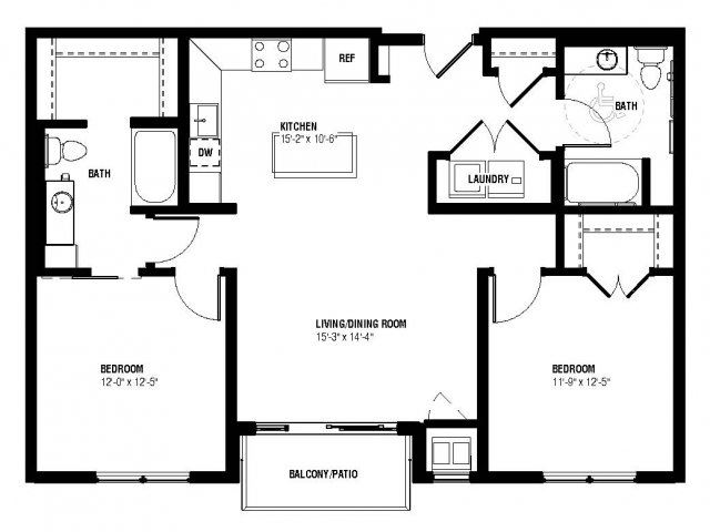 Neo Floor Plan (2 beds, 2 baths, 1056 sq.ft, rent $2,045/month)