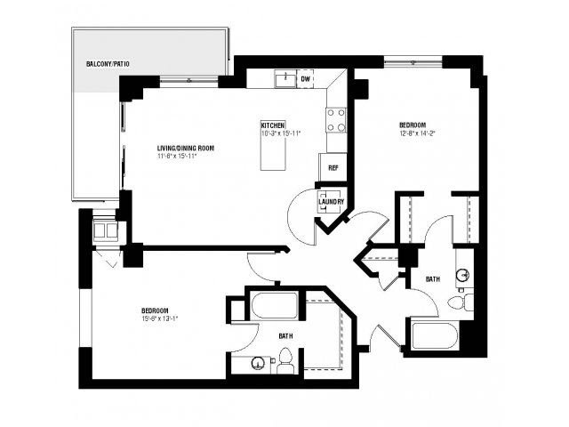 Presidio Floor Plan (2 beds, 2 baths, 1086-1162 sq.ft, rent $1,945-$2,355/month)