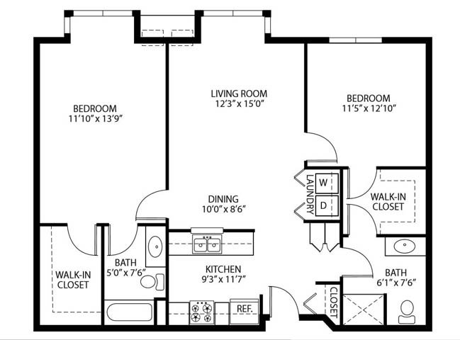 Heritage Place Apartments 55+ Community in Rogers, MN 2 Bedroom 2 Bathroom