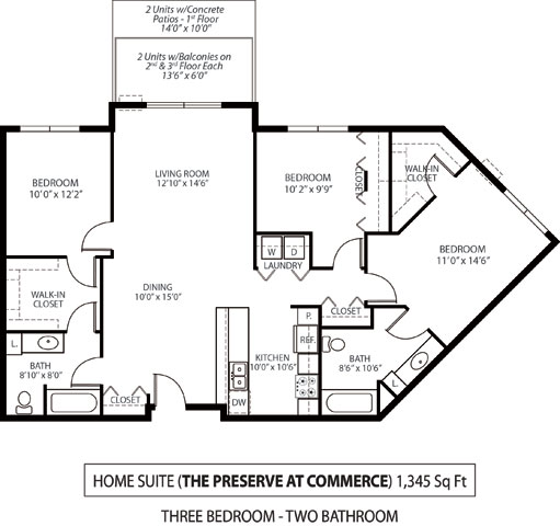 The Preserve at Commerce Apartments in Rogers, MN 3 Bedroom 2 Bath