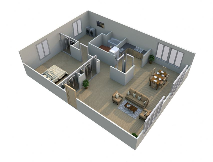 1 Bed 1 Bath  Floor Plan with Study at Green Acres Apartments,Michigan, 48603