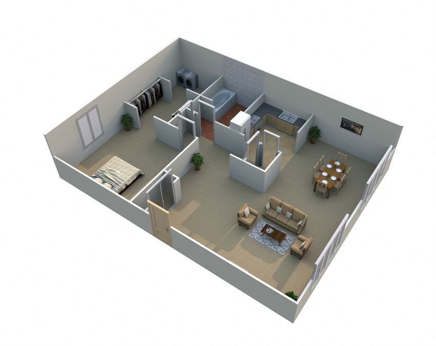 1 Bed 1 Bath Floor Plan with Walk In Closet at Green Acres Apartments,Saginaw, 48603