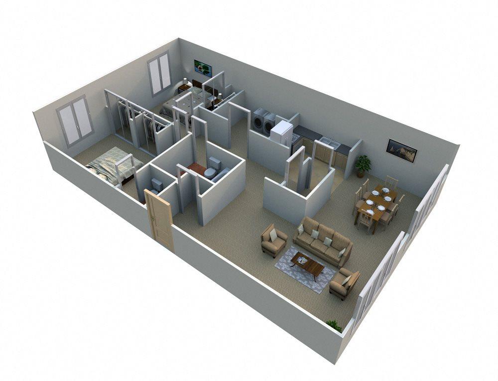 2 Bed 1.5 Bath  Floor Plan at Green Acres Apartments,4645 Colonial Drive, Saginaw MI, 48603