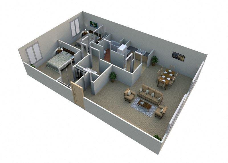 2 Bed 1 Bath  Floor Plan at Green Acres Apartments,4645 Colonial Drive, Saginaw
