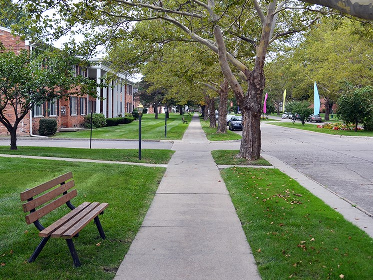Beautiful Paths with Benches at Green Acres Apartments,Saginaw Michigan