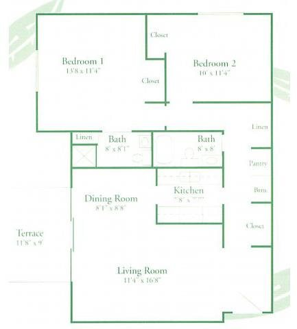 Two bedroom two bath Floor Plan 6