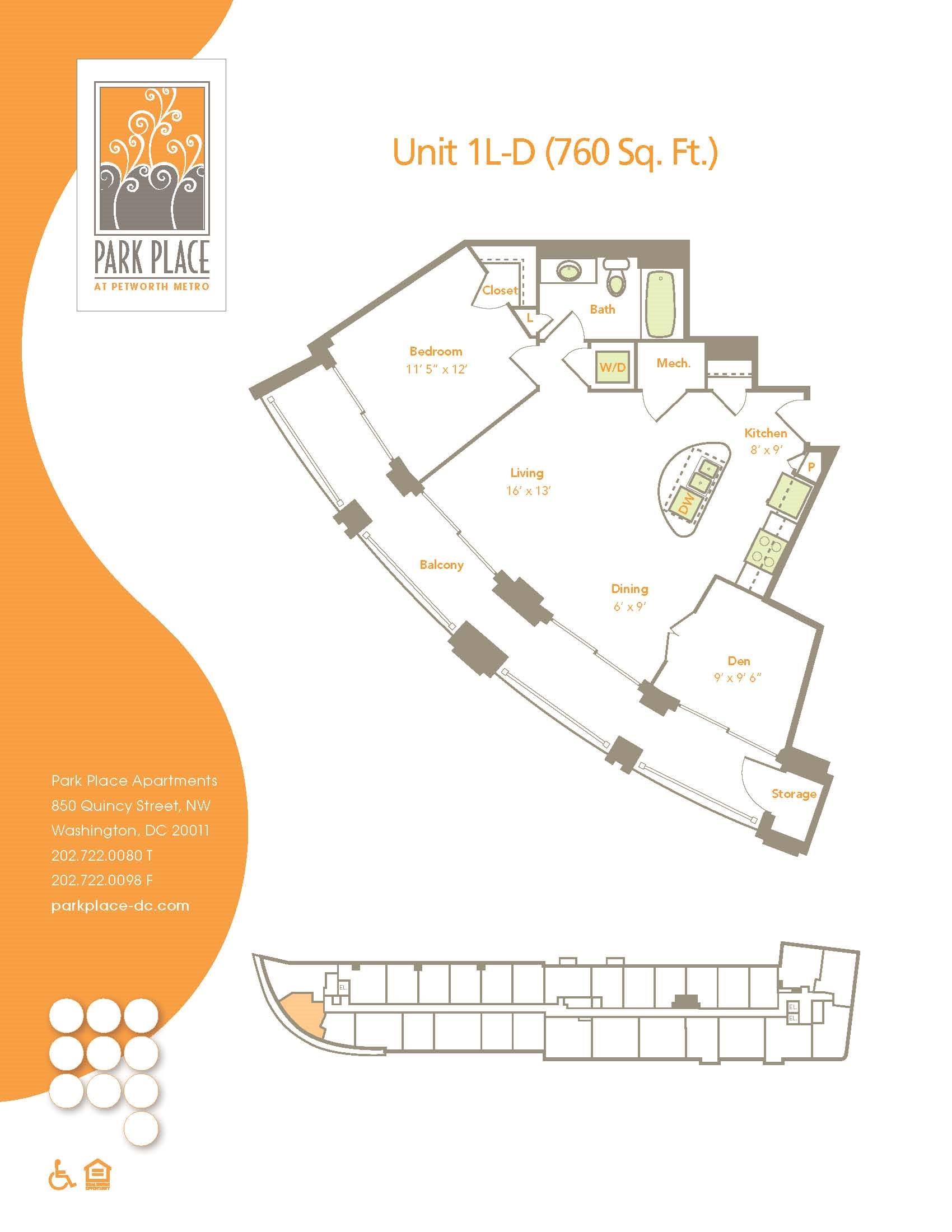 One Bedroom w/ Den (1L-D) Floor Plan 19