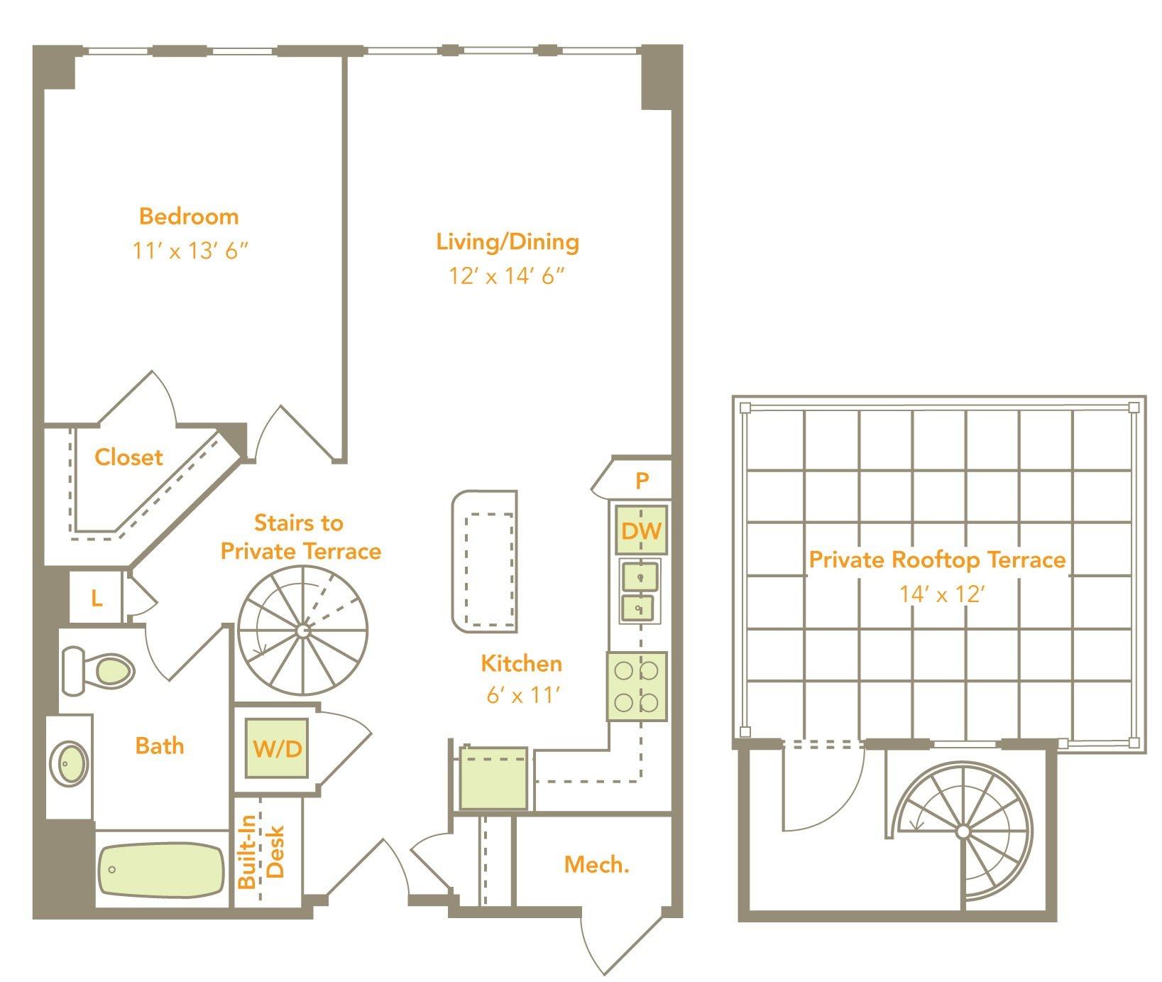 One Bedroom (1C-RT, 1H) Floor Plan 2