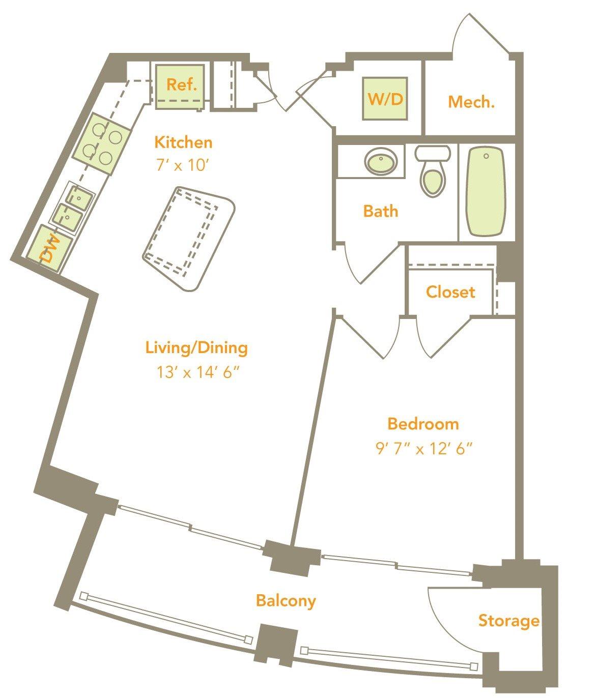 One Bedroom (1A) Floor Plan 1