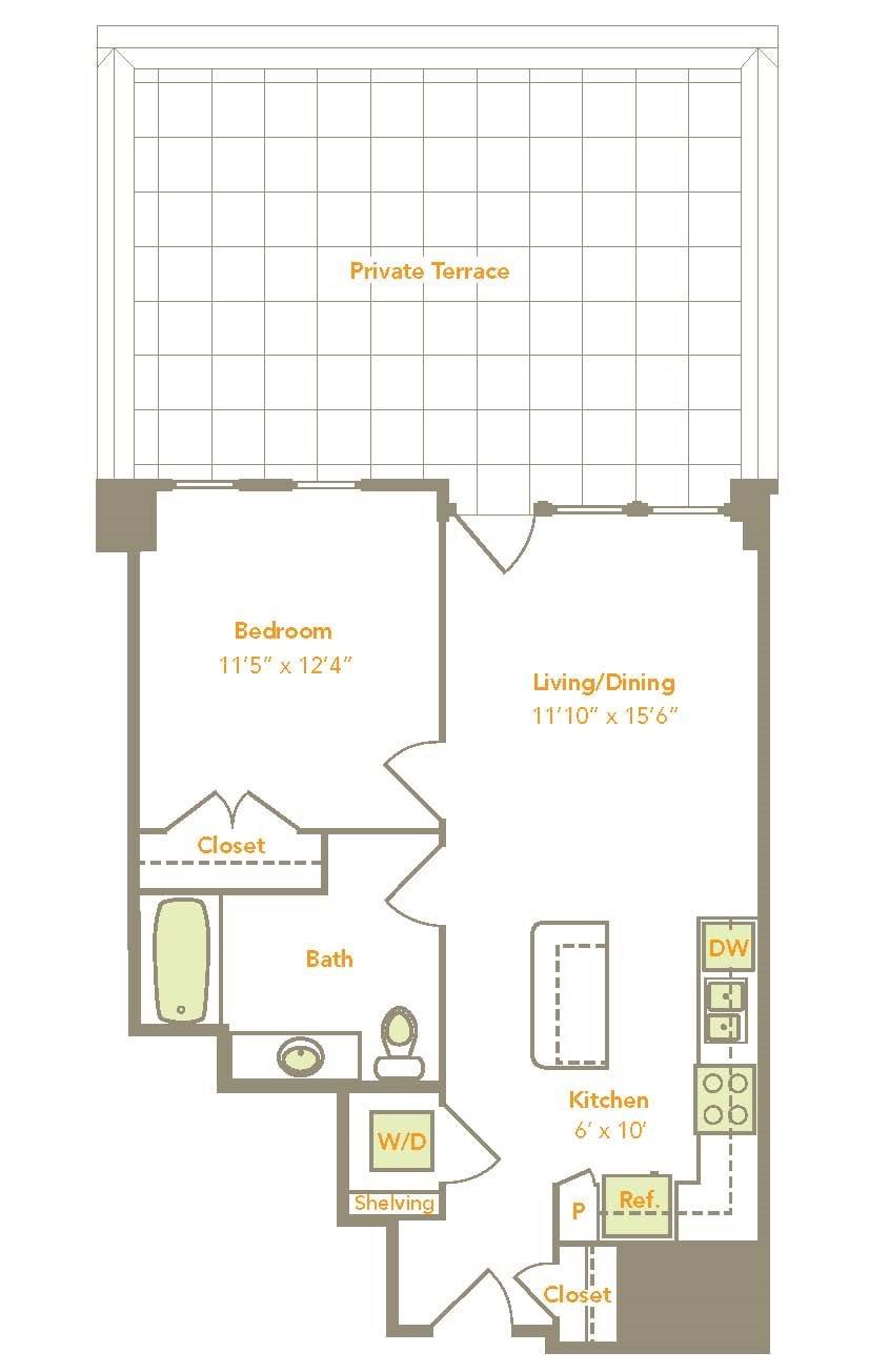 One Bedroom (1B-A, 1-D) Floor Plan 3