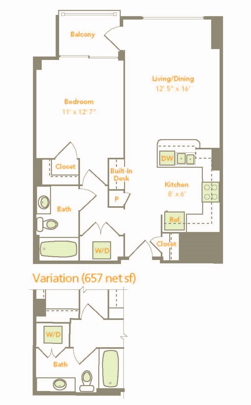 One Bedroom (1E, 1T) Floor Plan 4