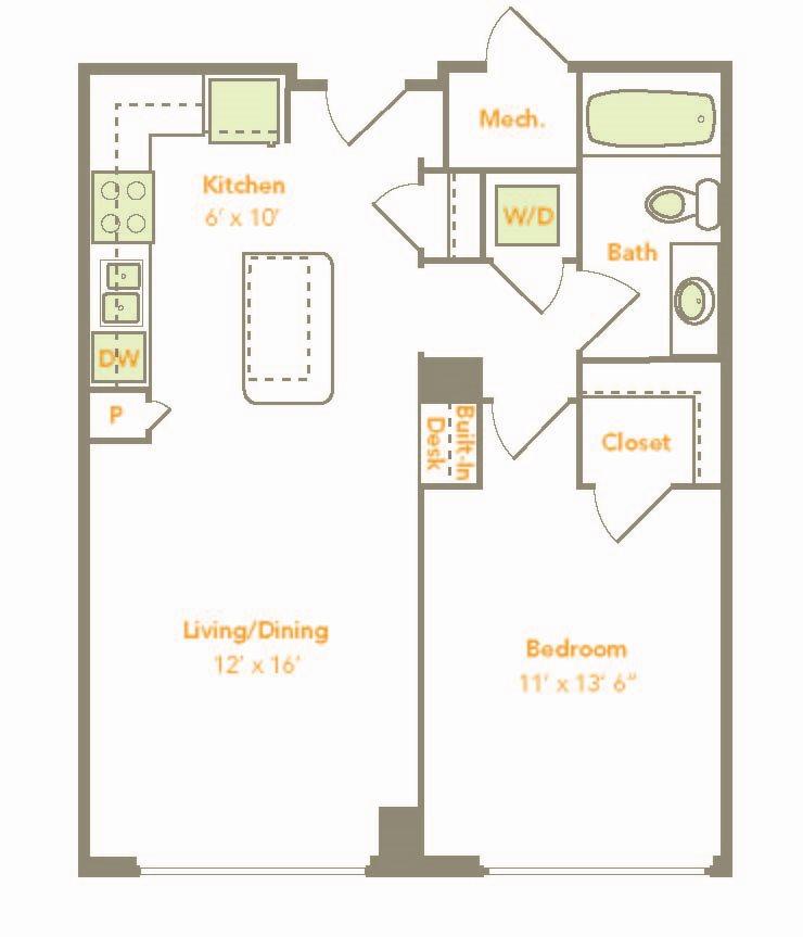One Bedroom (1F, 1G) Floor Plan 5