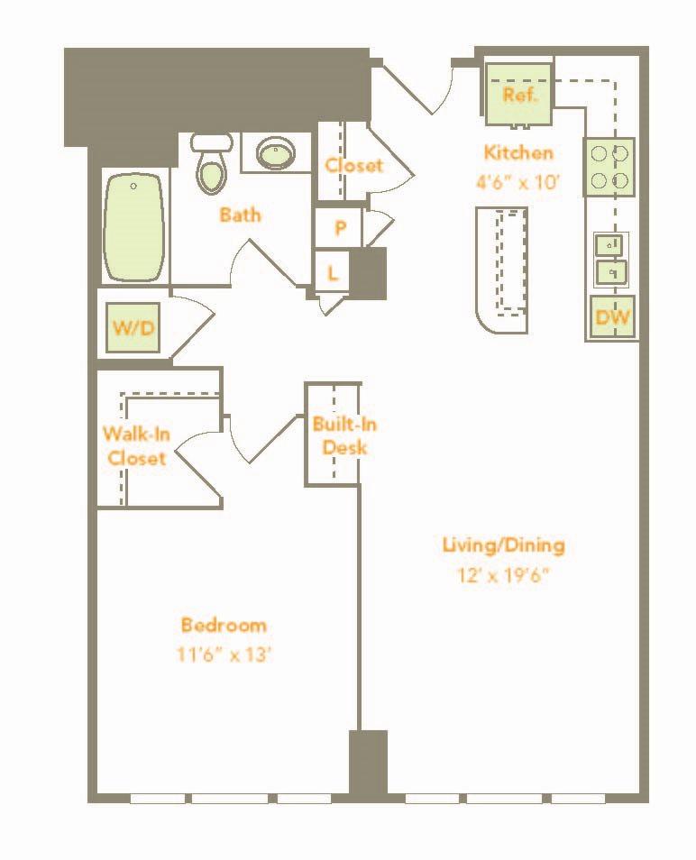 One Bedroom (1R, 1J-A) Floor Plan 6