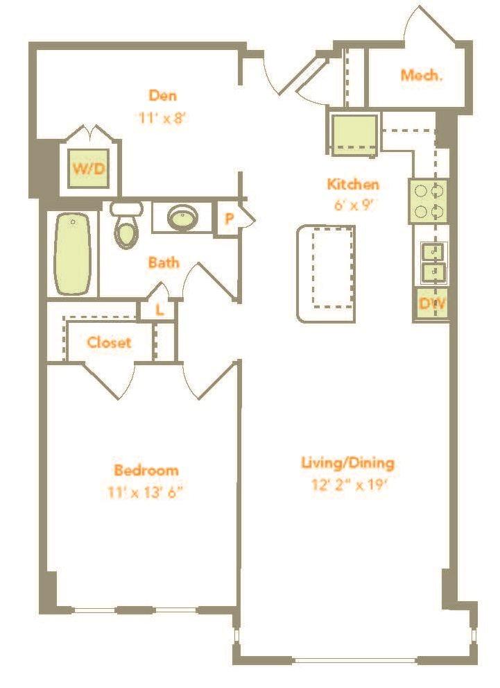 One Bedroom w/ Den (1M-D) Floor Plan 7
