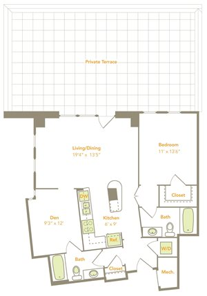 One Bedroom w/ Den (1N-D, 1P-D)