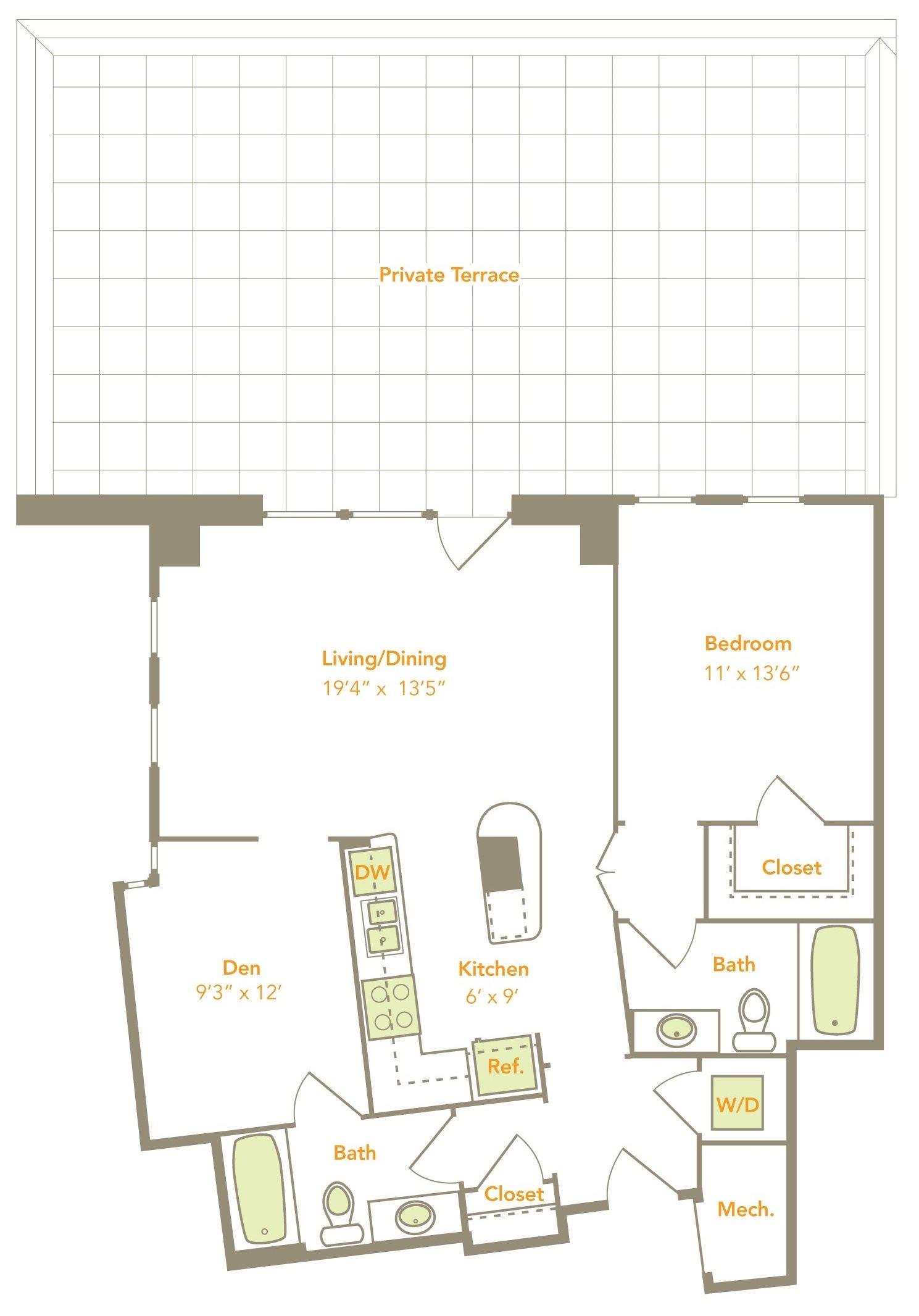 One Bedroom w/ Den (1N-D, 1P-D) Floor Plan 9