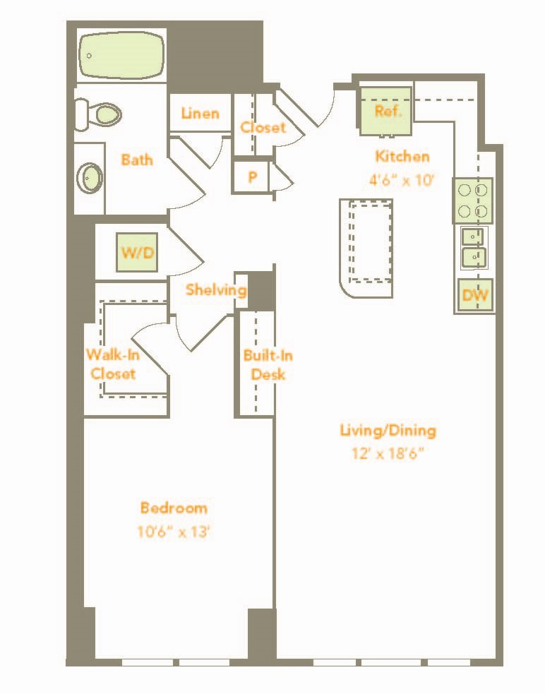 One Bedroom (1Q, 1U, 1K) Floor Plan 8