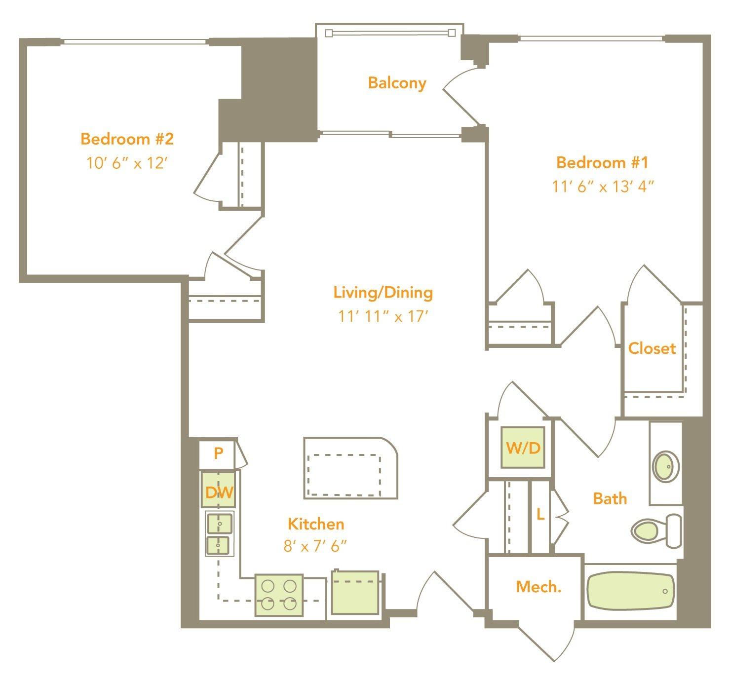 Two Bedroom (2A) Floor Plan 10