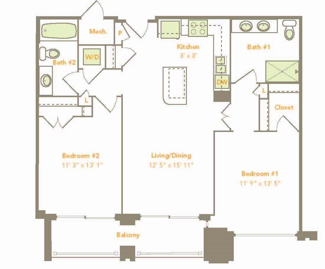 Two Bedroom (2C, 2F) Floor Plan 12