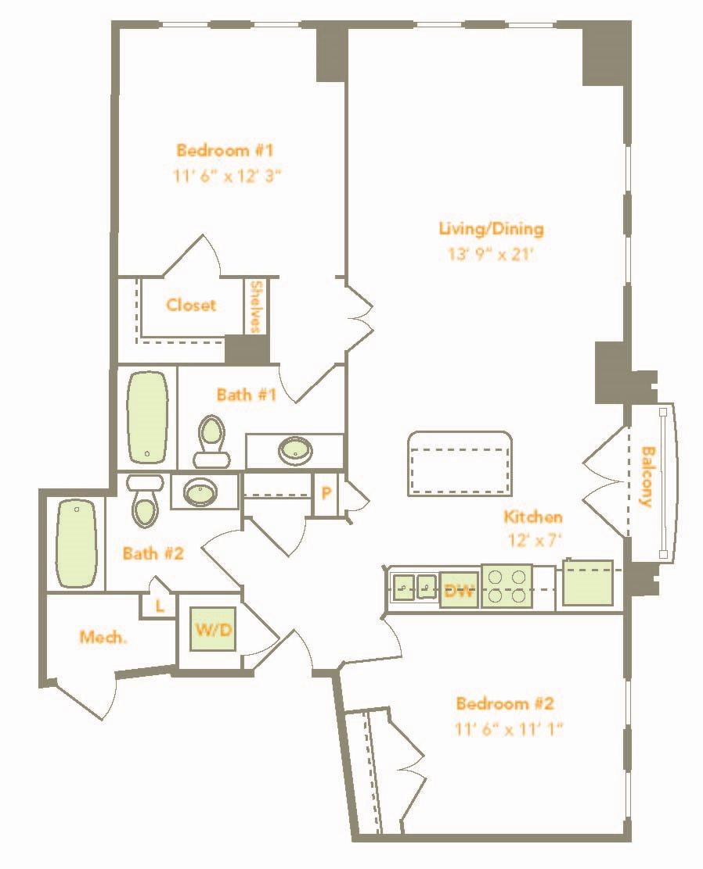 Two Bedroom (2D, 2E) Floor Plan 18