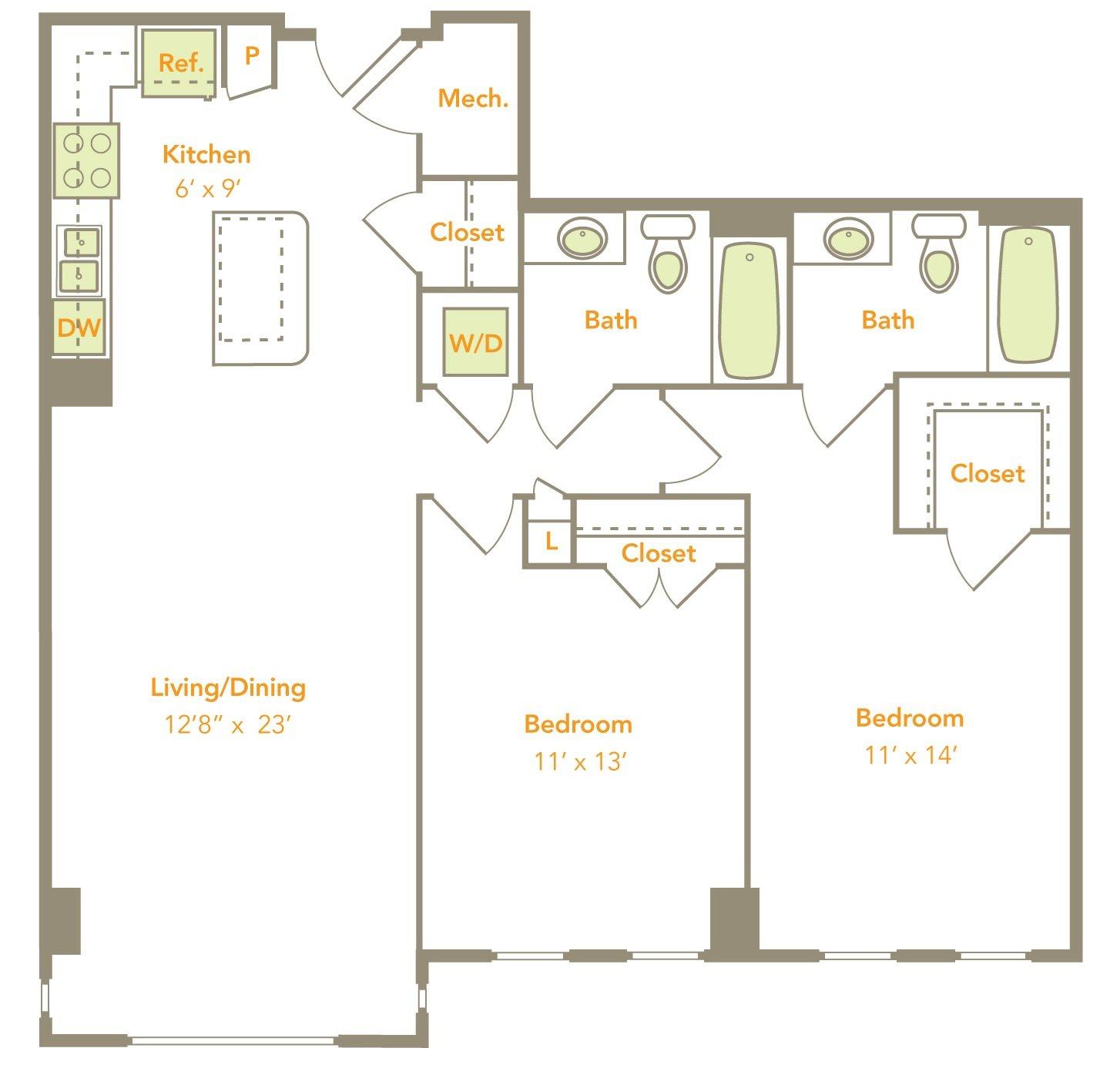 Two Bedroom (2G, 2J, 2H-RT, 2K-RT) Floor Plan 13