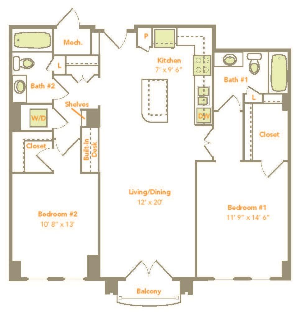 Two Bedroom (2J) Floor Plan 14