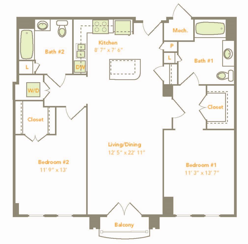 Two Bedroom (2L-A) Floor Plan 15