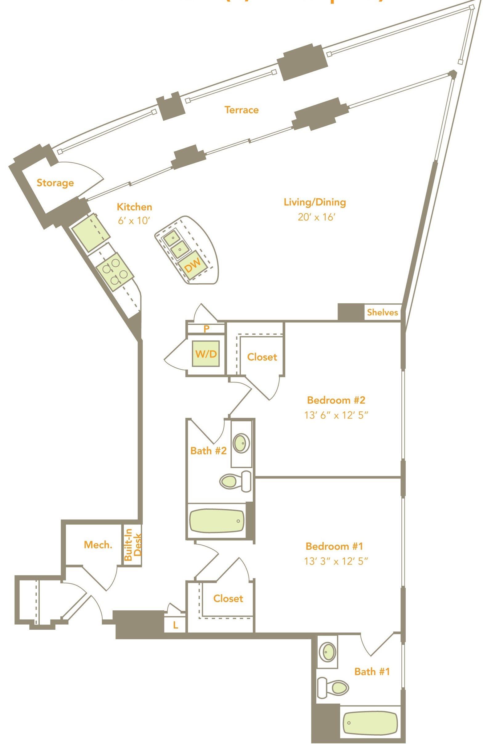 Two Bedroom (2N) Floor Plan 16