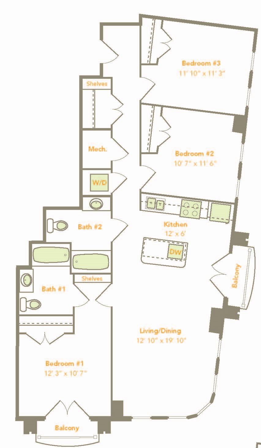 3 Bedroom (3A-A) Floor Plan 17